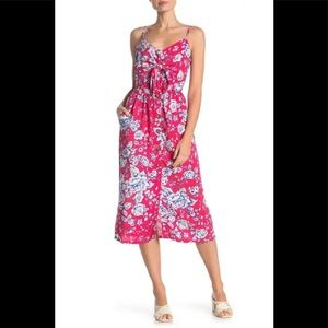 Mimi Chica Red Floral Tie Front Midi Dress/M